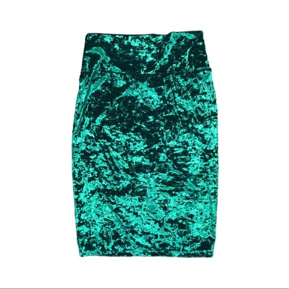 LuLaRoe Green Crushed Velvet Midi Skirt